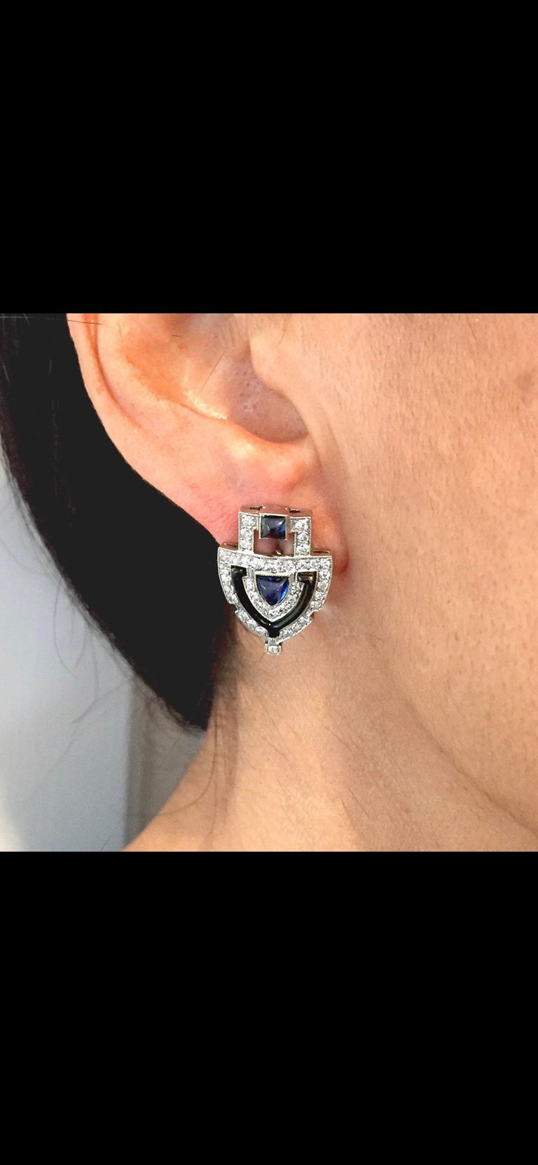 Women's or Men's Original Art Deco Platinum Diamond Sapphire Shield Earrings For Sale