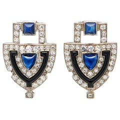 Art Deco Platinum Diamond Sapphire Shield Earrings