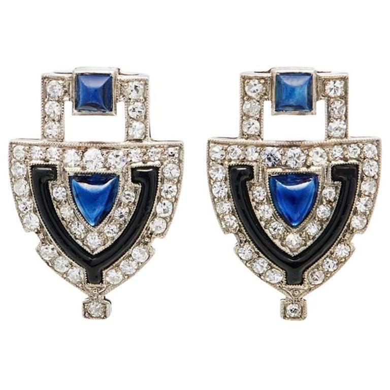 Original Art Deco Platinum Diamond Sapphire Shield Earrings For Sale