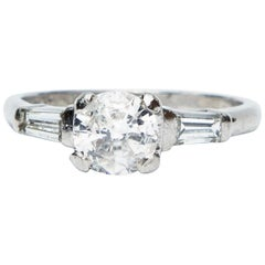 Art Deco Platinum Diamond Solitaire Engagement Ring