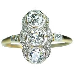Art Deco Platinum Diamond Three-Stone Diamonds Ring