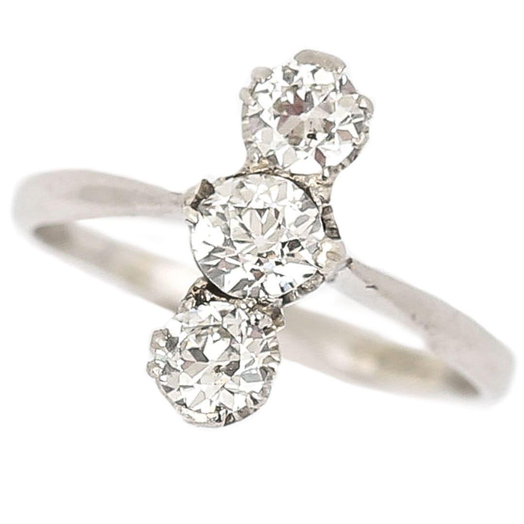 Art Deco Platinum Diamond Three Stone Ring