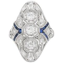 Art Deco Platinum Diamonds and Sapphire Ring