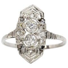 Art Deco Platinum Diamonds Ring