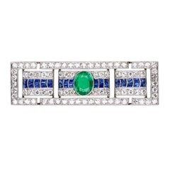 Art Deco Platinum Emearld Sapphire Diamond Panel Brooch