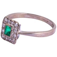 Art Deco Platinum Emerald and Diamond Panel Cluster Ring