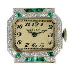 Art Deco Platinum Emerald and Diamond Wristwatch Signed 'Welch', c1925