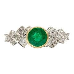Art Deco Platinum Emerald and Diamonds Engagement Ring