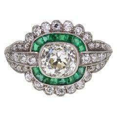 Art Deco Platinum Emerald Diamond Fancy Cluster Ring