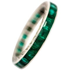 Art Deco Platinum Emerald Eternity Band
