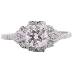 Art Deco Platinum Engagement Ring with a .72 Center Stone and Accent Diamonds