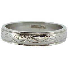 Art Deco Platinum Engraved Wedding Band, circa 1940s-1950s