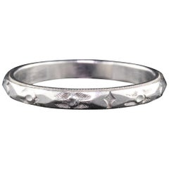 Art Deco Platinum Engraved Wedding Band