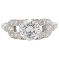 Art Deco Platinum Euro Cut Diamond Engagement Ring GIA Report