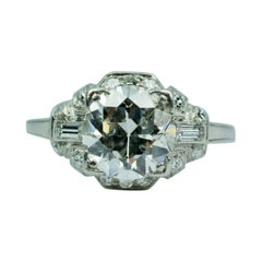 Art Deco Platinum European Cut Diamond with Baguette & Single Cut Diamond Ring
