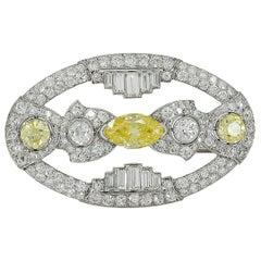 Art Deco Fancy Yellow Diamond Navette Brooch