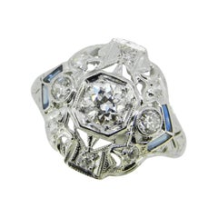 Art Deco Platinum Filigree .53ct Diamond Ring w/ Synthetic Sapphires '#J4540'