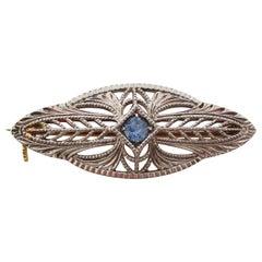 Art Deco Platinum Filigree Montana Sapphire Pin