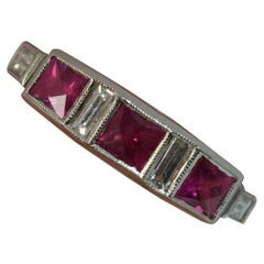 Art Deco Platinum French Cut Ruby and Diamond Stack Ring