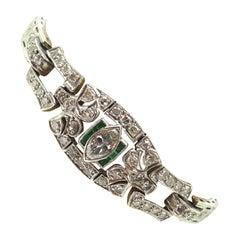 Art Deco Platinum Genuine Natural Diamond Bracelet with Emeralds '#J3489'