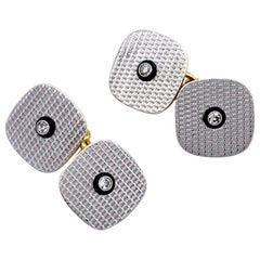 Art Deco Platinum Gold Engraving Diamond Onyx Cufflinks