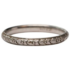 Art Deco Platinum Iridium Floral Design Carved Wedding Stackable Band