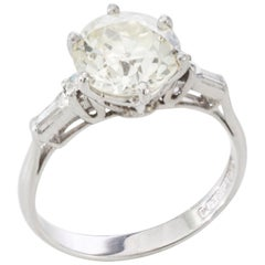 Art Deco Platinum Ladies 3.02 Carat Diamond Ring, Certified