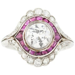 Art Deco Platinum Ladies Ring with 1.50 Carat Diamond and Rubies, 1930s