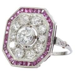 Art Deco Platinum Ladies Ring with Diamonds and Rubies