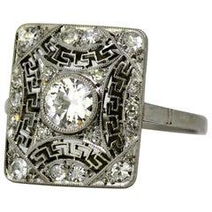 Art Deco Platinum Ladies Ring with Diamonds, France, 1920s