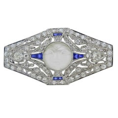 Art Deco Platinum Moonstone Diamond Sapphire Brooch