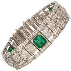 Art Deco Platinum Natural Emerald and Diamond Bracelet