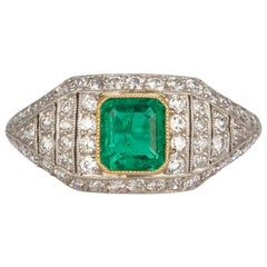 Art Deco Platinum Natural Emerald and Diamond Ring