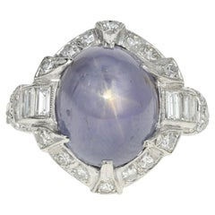 Art Deco Platinum Natural No Heat Ceylon Star Sapphire Ring