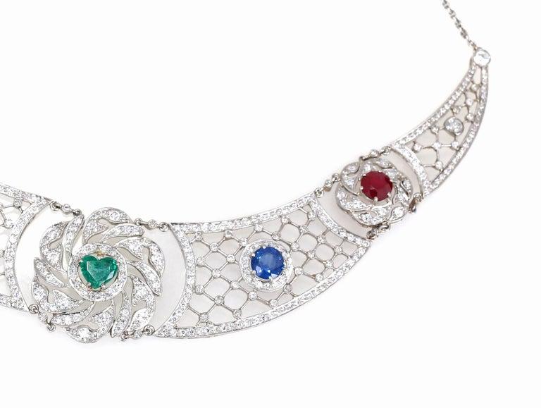 Heart Cut Art Deco Platinum Necklace Heart-Shaped Emerald Sapphires Rubies Diamond For Sale