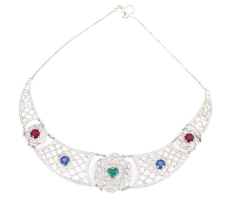 Women's Art Deco Platinum Necklace Heart-Shaped Emerald Sapphires Rubies Diamond For Sale