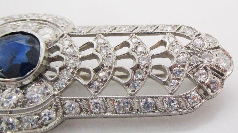 Art Deco Platinum No Heat Blue Sapphire and Diamond Architectural Bar Pin For Sale 1