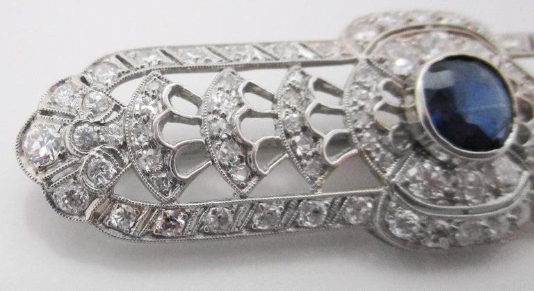 Art Deco Platinum No Heat Blue Sapphire and Diamond Architectural Bar Pin For Sale 2