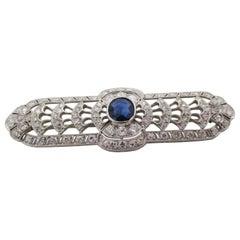 Art Deco Platinum No Heat Blue Sapphire and Diamond Architectural Bar Pin