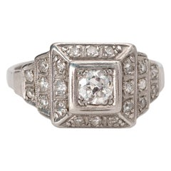 Art Deco Platinum Old Cut Diamond Engagement Ring with Square Single Cut Halo
