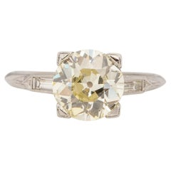 Art Deco Platinum Old European Cut 2.52Ct Vintage Solitaire Engagement Ring