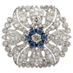 Art Deco Platinum Old European Cut 8.5 Carat Diamond and Sapphire Brooch Pin