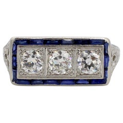 Art Deco Platinum Old European Cut Diamond and Sapphire 3 Stone Ring