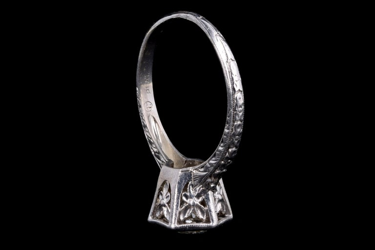 Women's Art Deco Platinum Old European Cut Diamond Orange Blossom Engagement Ring For Sale