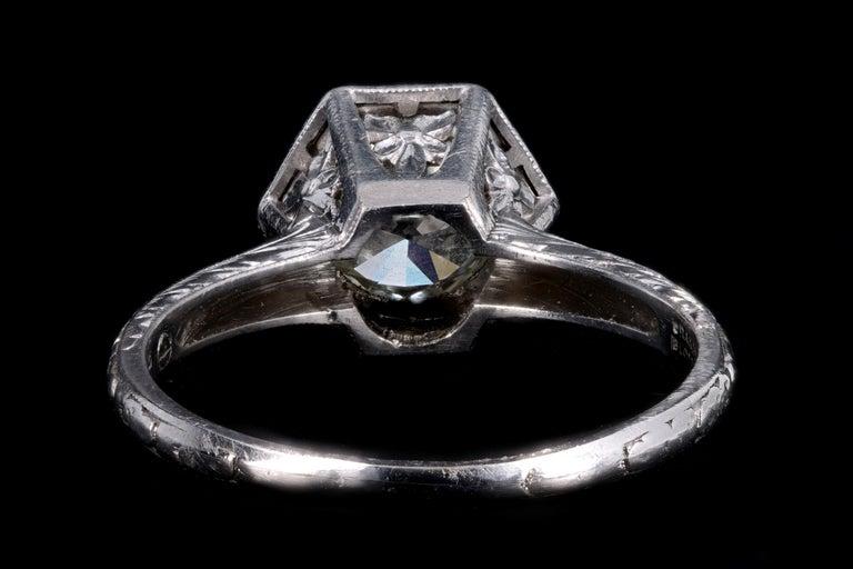 Art Deco Platinum Old European Cut Diamond Orange Blossom Engagement Ring For Sale 1
