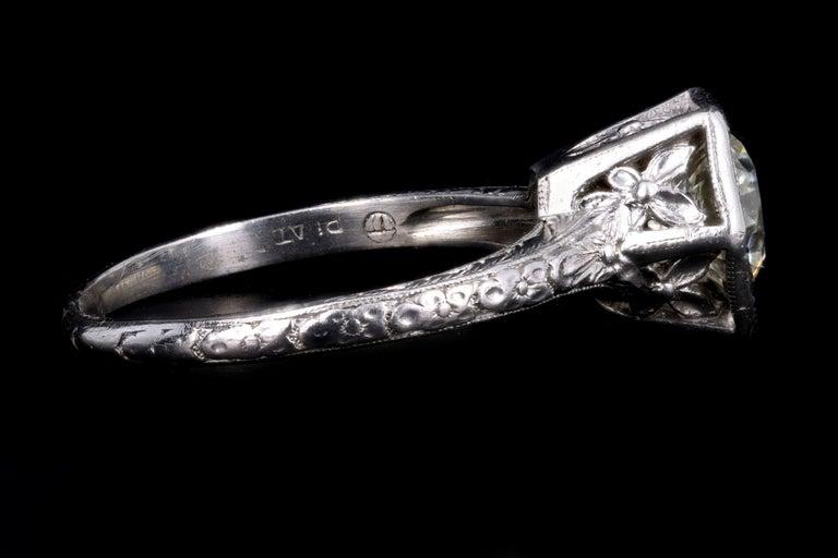 Art Deco Platinum Old European Cut Diamond Orange Blossom Engagement Ring For Sale 2