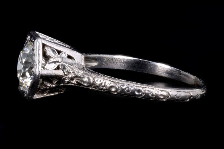 Art Deco Platinum Old European Cut Diamond Orange Blossom Engagement Ring For Sale 3