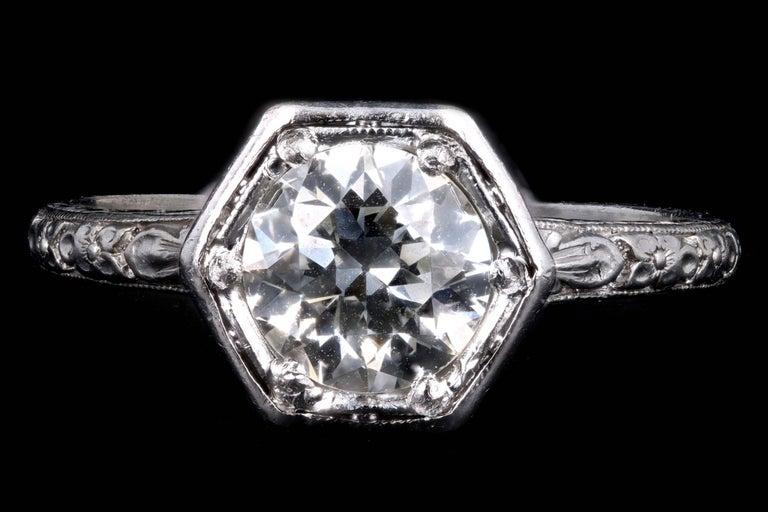 Art Deco Platinum Old European Cut Diamond Orange Blossom Engagement Ring For Sale 4