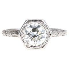 Art Deco Platinum Old European Cut Diamond Orange Blossom Engagement Ring