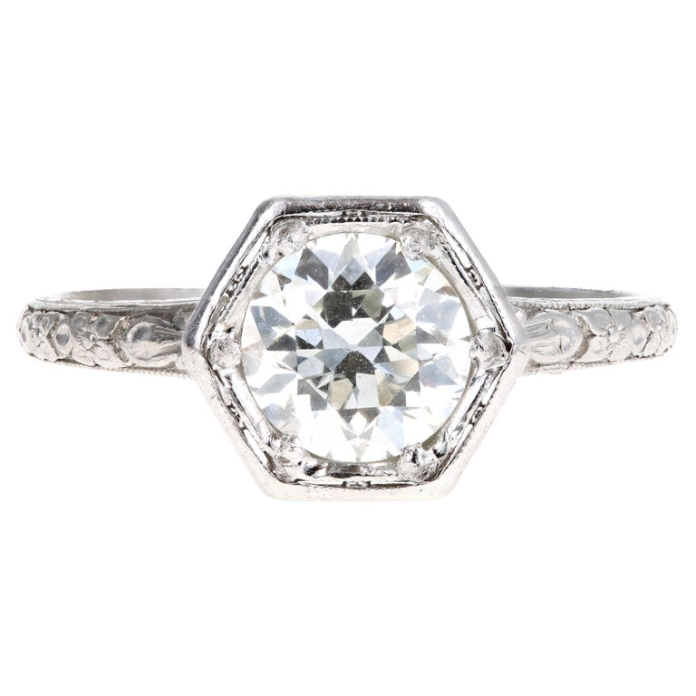 Art Deco Platinum Old European Cut Diamond Orange Blossom Engagement Ring For Sale